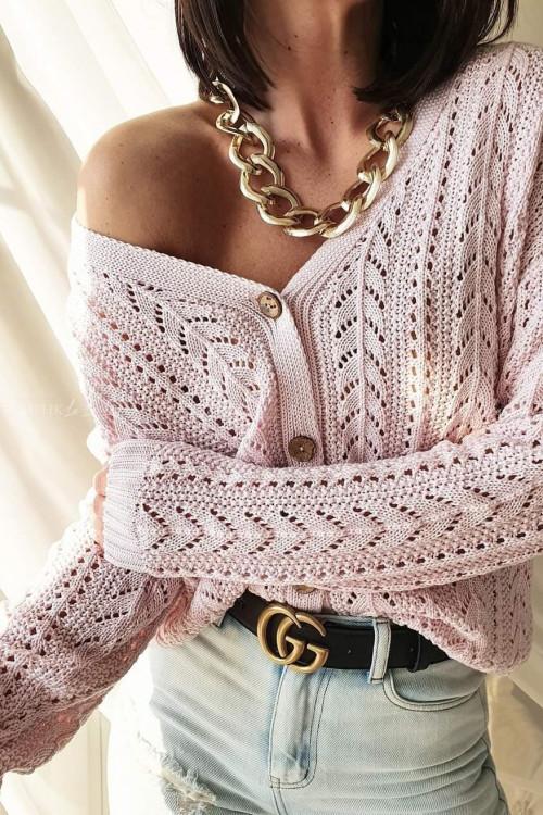sweter ażurowy nude pink Stinx