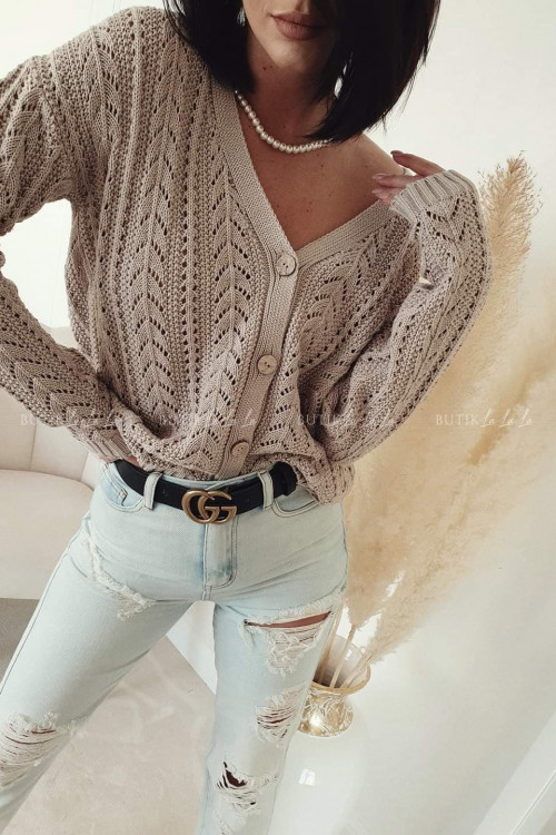 sweter ażurowy beżowy Stinx