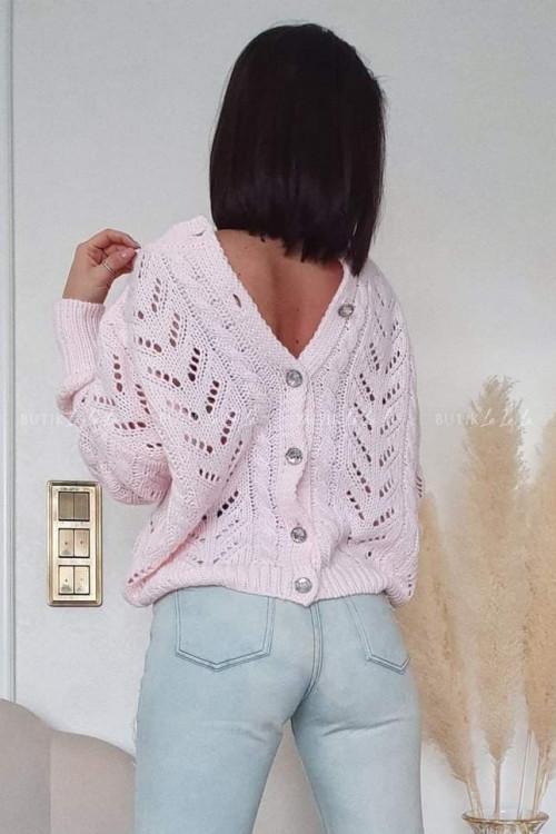 sweterek ażurowy pudrowy Addy
