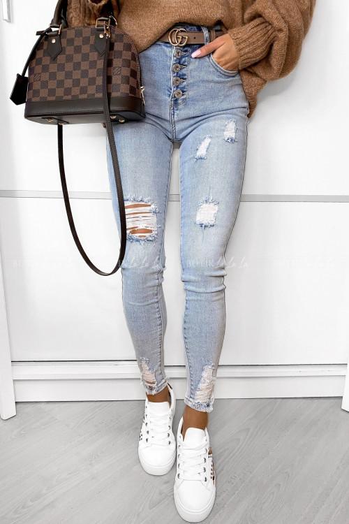 Spodnie jeans blue z guzikami Lorenso
