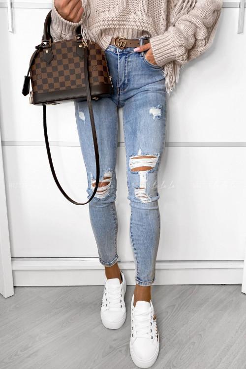 Spodnie jeans blue z przetarciami Randi