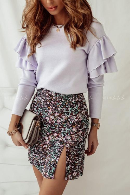 sweterek liliowy z falbanką Rasti