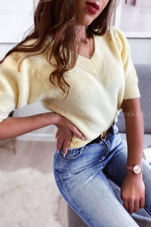 sweterek z alpaki żółty Wellnes