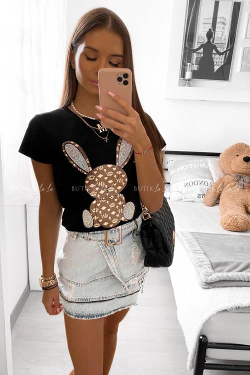 t-shirt czarny z aplikacją Rabbit