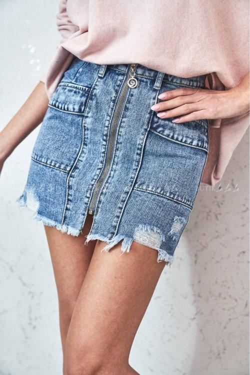 spódniczka z suwakiem jeans blue Danny