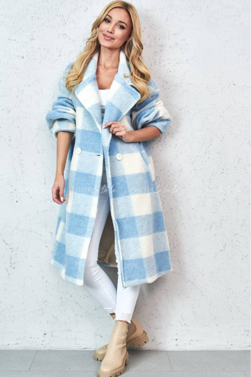 Płaszcz maxi w krate błękitno kremowy Nelli