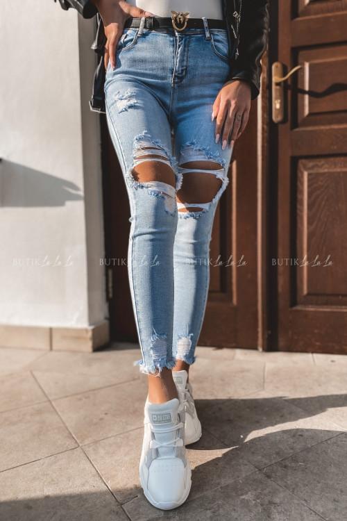 Spodnie jeans blue z przetarciami Apo