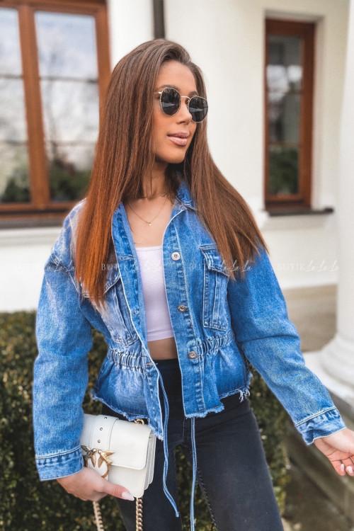 Kurtka jeans blue z wiązaniem Karina