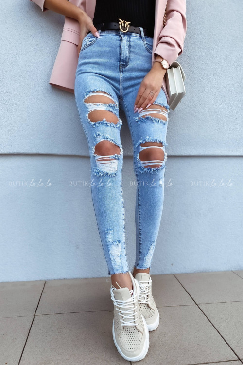 Spodnie jeans blue z przetarciami Vanti