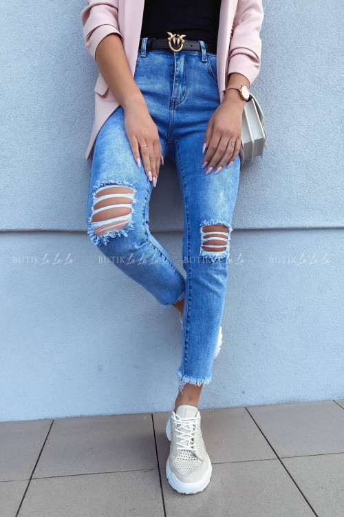 Spodnie jeans blue z przetarciami Belmont