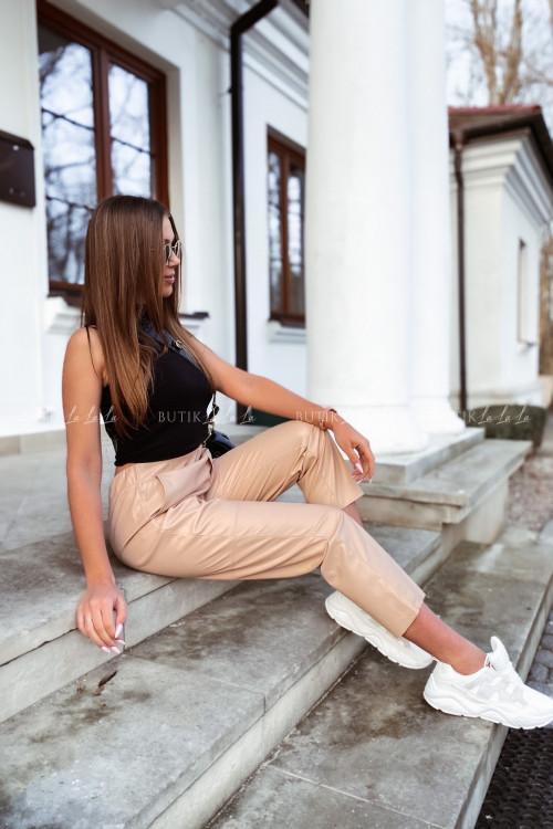 spodnie beżowe woskowane Marlo