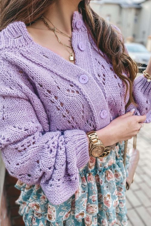 Sweter rozpinany liliowy Molly
