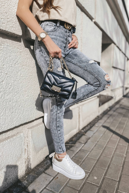 spodnie szare z guzikami i przetarciami Denim