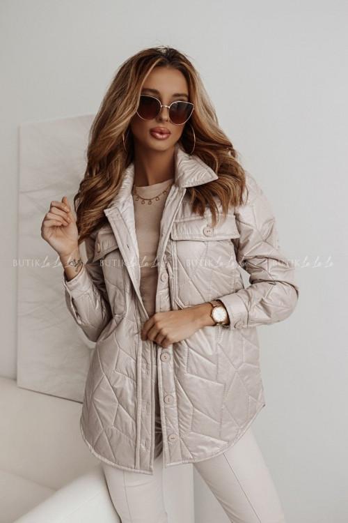 kurtka beżowa pikowana z kieszeniami Aris