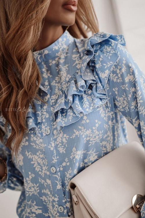 bluzka koszulowa błękitna z falbanka Maella