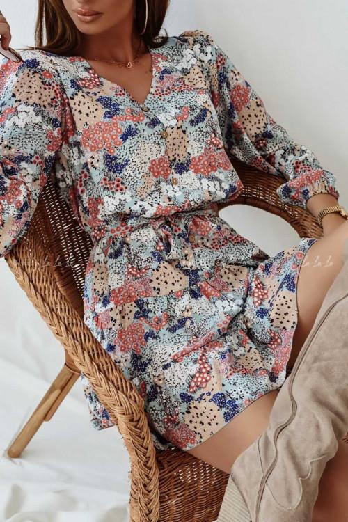 sukienka wielokolorowa z guzikami Nanos