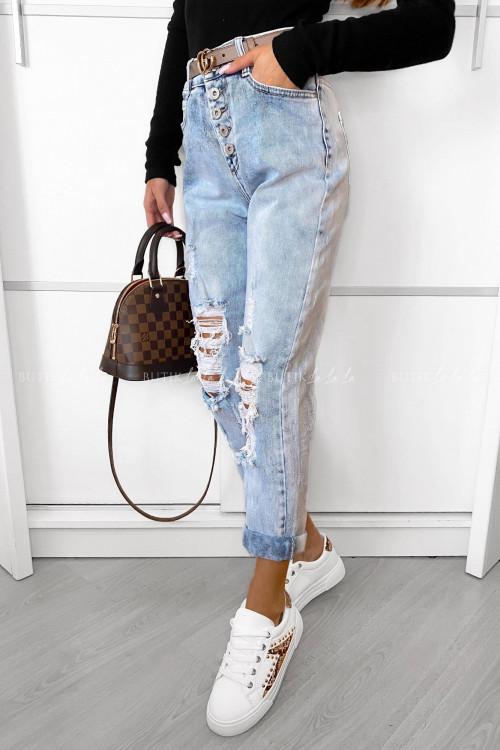 spodnie jeans blue z guzikami Sarto