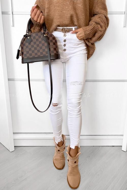 spodnie białe z guzikami Sassy