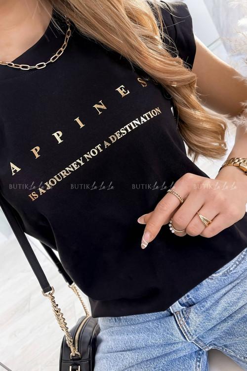 T-shirt Happines czarny