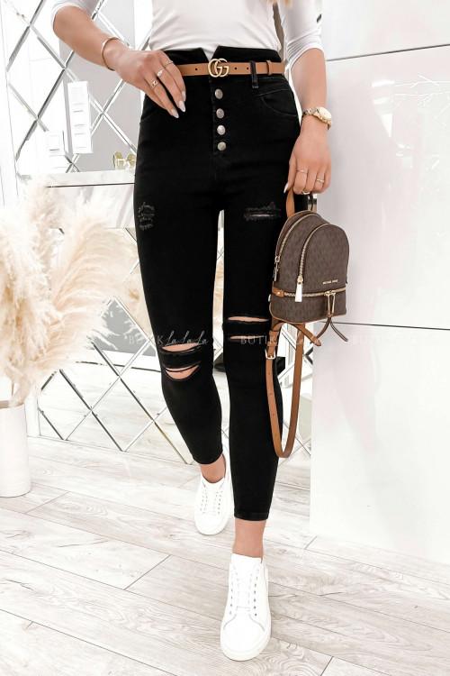 spodnie czarne z guzikami i przetarciami Wassyl