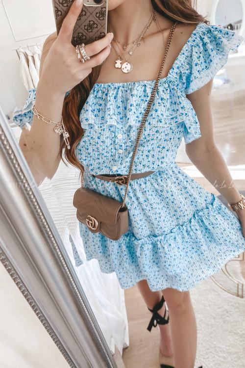 Sukienka letnia hiszpanka z falbankami niebieska Flowers