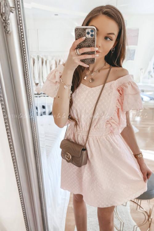 sukienka letnia mini ażurowa z falbanami jasny róż Elissa
