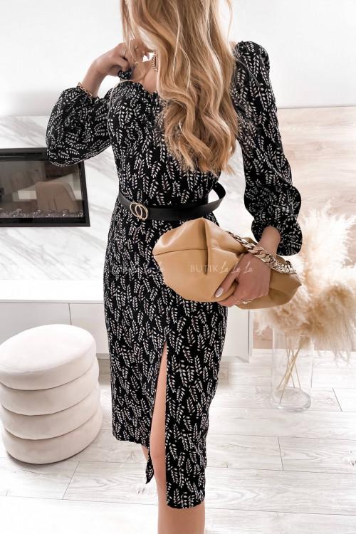 sukienka midi w listki z paskiem czarna Penelope