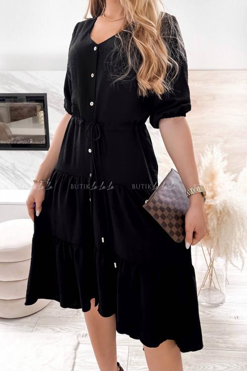 Sukienka maxi z ozdobnymi guziczkami czarna Zimba