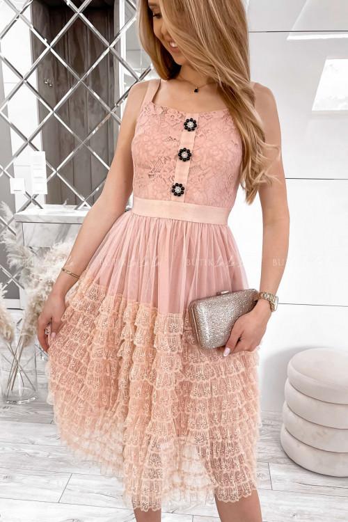 sukienka koronkowa z falbankami i ozdobnymi guzikami Lorens