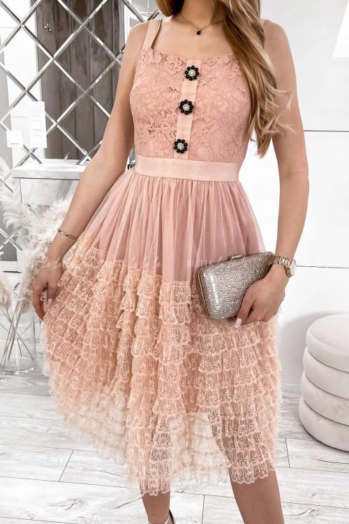 sukienka koronkowa z falbankami i ozdobnymi guzikami Lorens 1