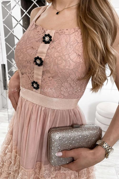 sukienka koronkowa z falbankami i ozdobnymi guzikami Lorens 3