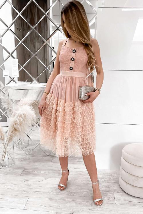 sukienka koronkowa z falbankami i ozdobnymi guzikami Lorens 2