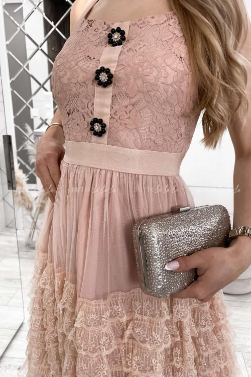 sukienka koronkowa z falbankami i ozdobnymi guzikami Lorens 4