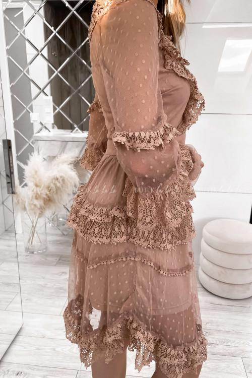 sukienka letnia boho z koronką pudrowa Charlott 2