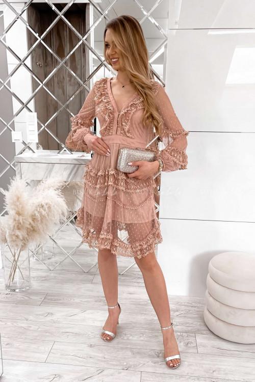 sukienka letnia boho z koronką pudrowa Charlott 1