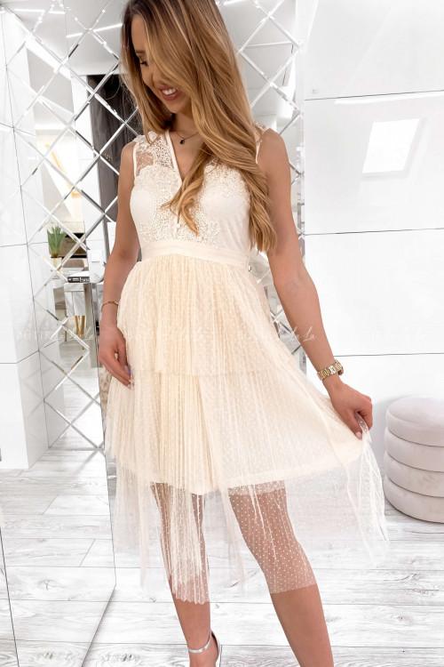Sukienka z koronkową górą i tiulowym dołem kremowa Amber