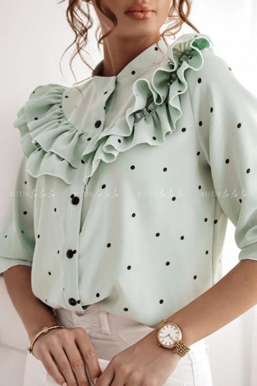 bluzka koszulowa miętowa falbanka Consuela