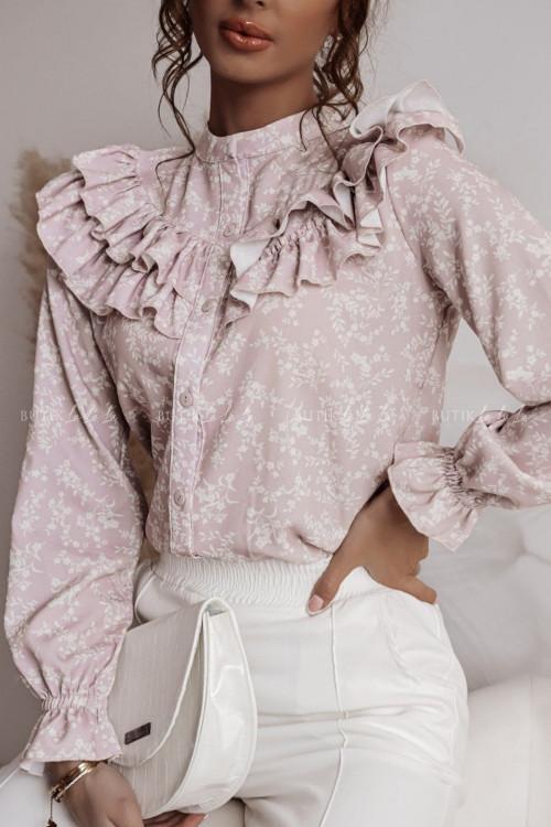 bluzka koszulowa pudrowa z falbanka Maella 1
