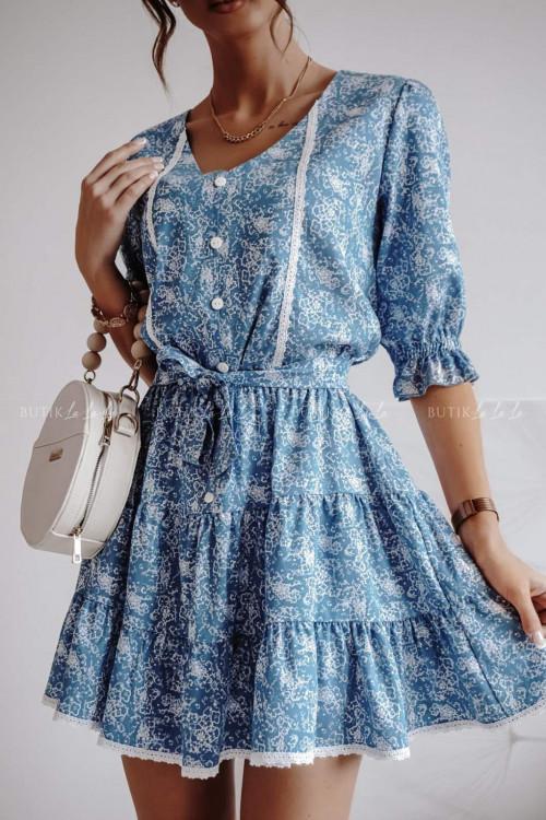 sukienka niebieska w kwiaty Bruce