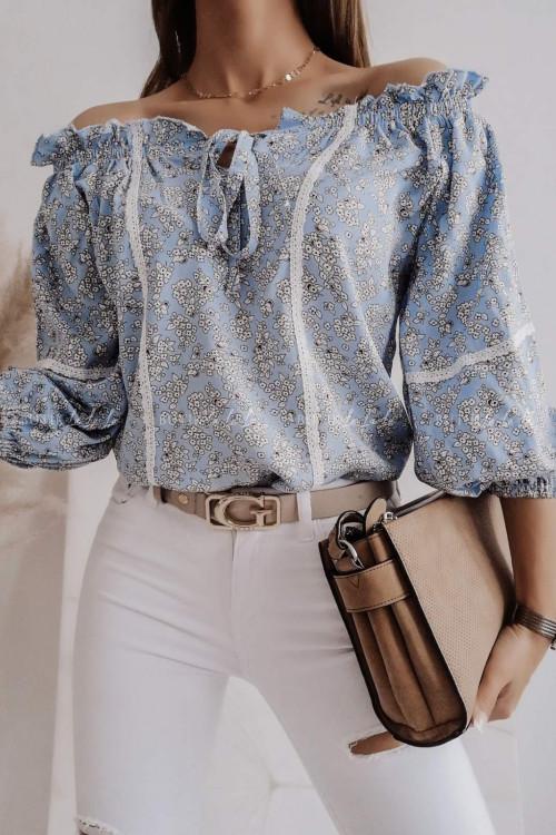 koszula w kwiaty hiszpanka niebieska Danny