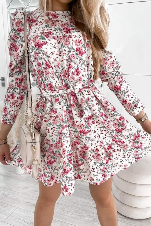 Sukienka w kwiaty kremowa z falbanką i paskiem Moledo