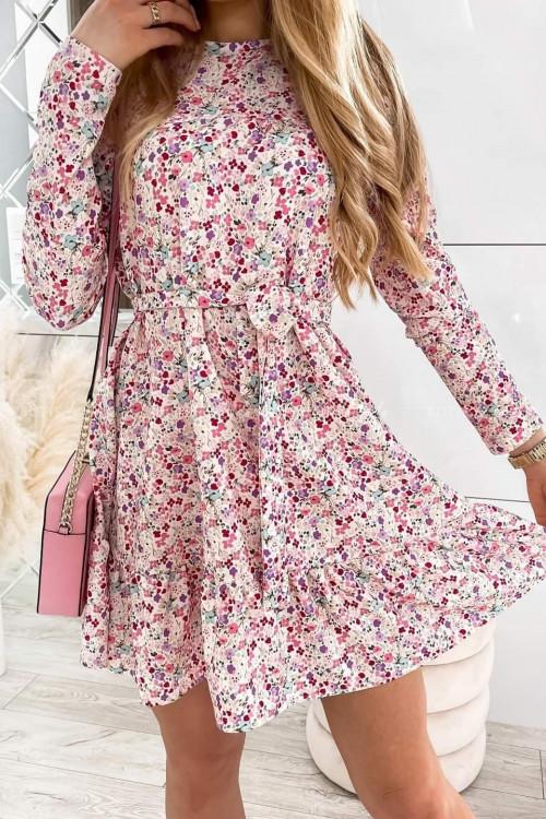 Sukienka w kwiaty beżowa z falbanką i paskiem Moledo