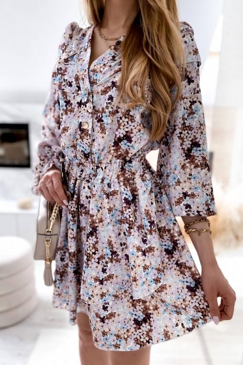 sukienka w kwiaty z falbanką Davide