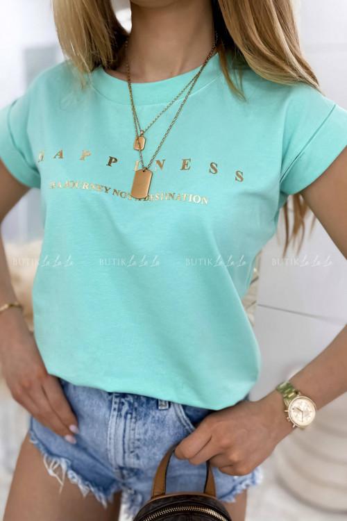 T-shirt Happines zielony