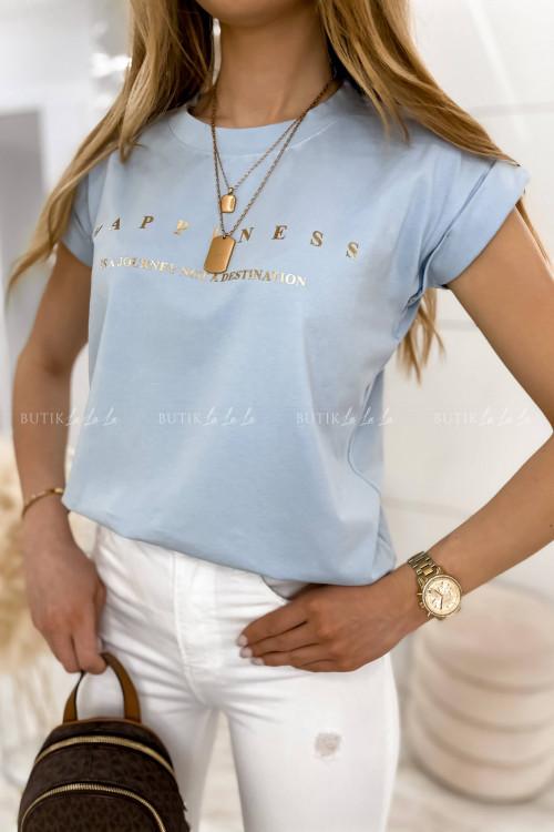 T-shirt Happines błękitny