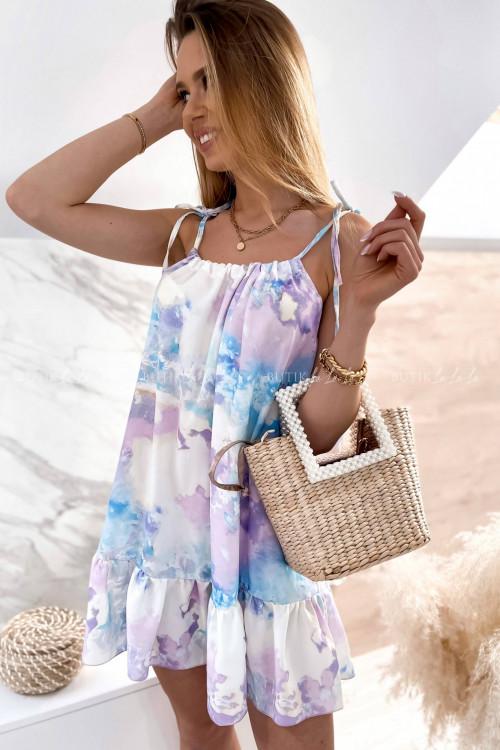 Sukienka mini letnia pastelowa wiązana w talii Sonia