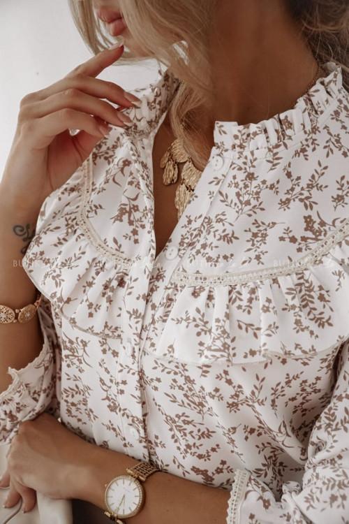 bluzka koszulowa biała w beżowe kwiatki Angela II