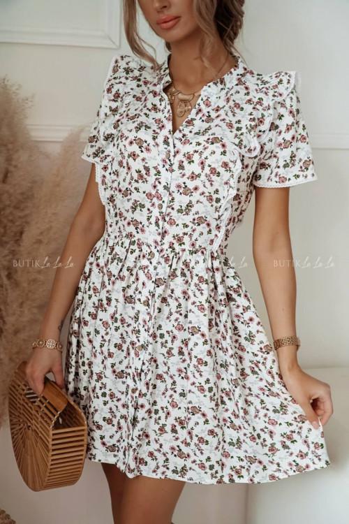 sukienka biała w drobne kwiatki Cinamon