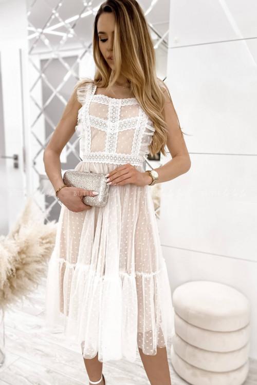 sukienka beżowa midi tiulowa Lacoma