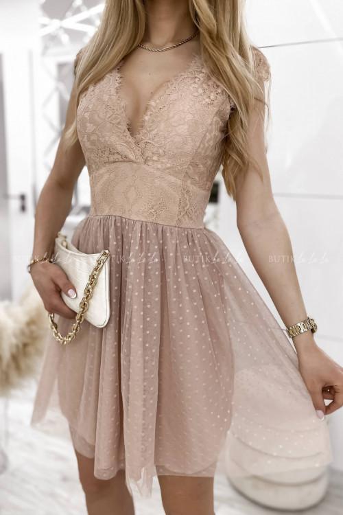 sukienka beżowa tiulowa z falbankami Servio